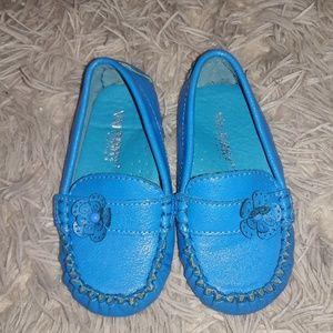 Blue slide on shoes
